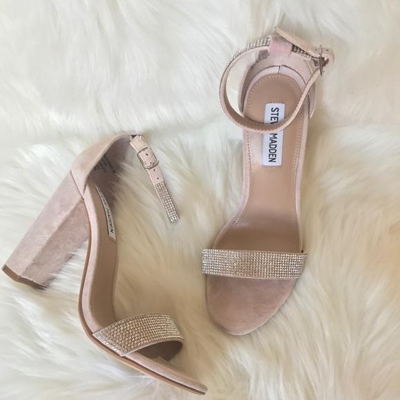 Steve Madden Carrson Rhinestone Ankle Strap Block Heel Dress Sandals